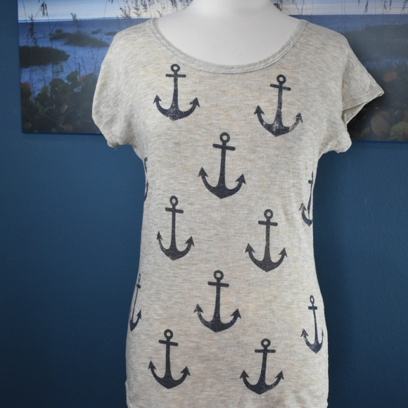 Free Kisses Tops - Free Kisses anchor pattern knit top